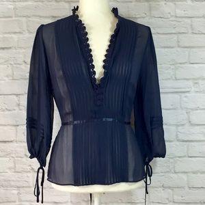 Bcbg Maxazria navy blue chiffon silk pleat blouse